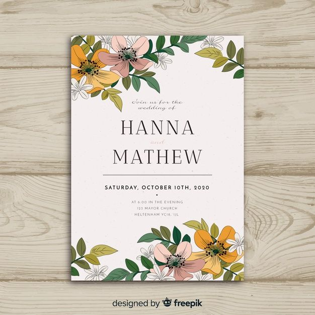 Baixe Modelo De Cartao De Convite De Casamento Floral Gratuitamente Floral Wedding Invitation Card Free Wedding Invitation Templates Wedding Invitation Card Template