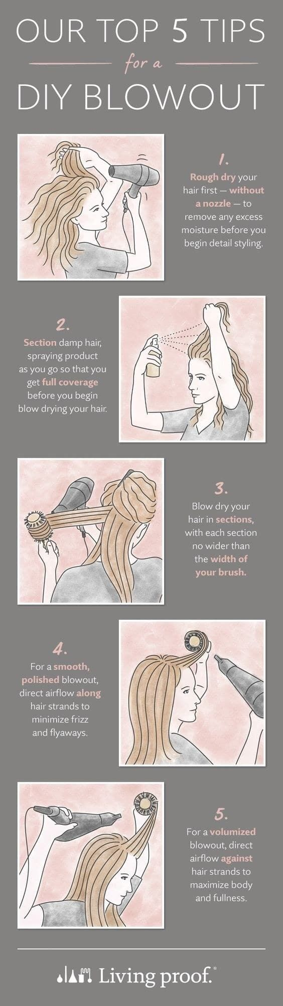 Set your blow dryer at a lower speed setting to lock in the style. Blast your hair with the cold air for shine. Go to Living Proof for more tips like this one.