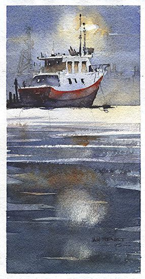 Night Shrimper by Iain Stewart  ~ 11 x 5