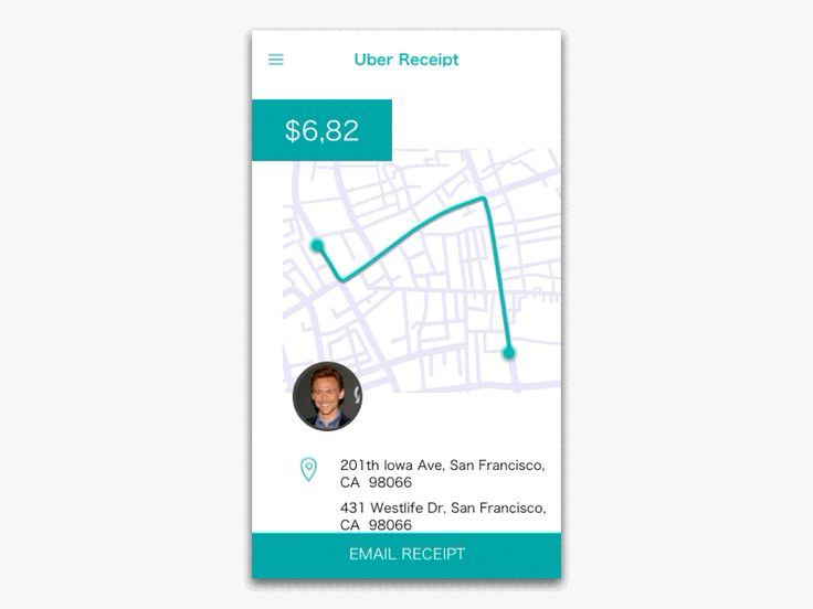 Uber Receipt UI & Motion Design by Chen Liu