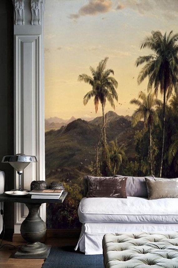 panoramic wallpaper murals  Panoramic wallpaper mural, old painting, landscape mural, 19th ...