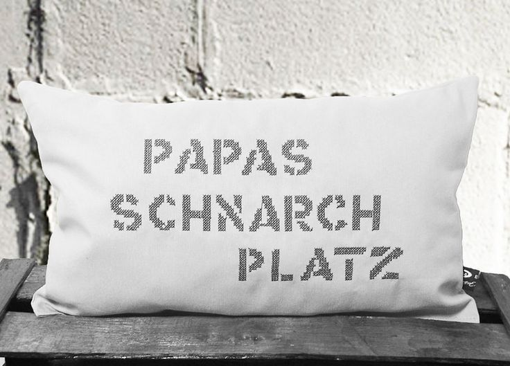 "Kissen ""Papa Schnarch Platz"" // Pillow by isonca Design via DaWanda.com"
