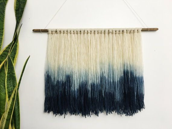 MADE TO ORDER  Handmade & hand dip dyed fiber wall hanging. 50% organic wool/50% organic cotton yarn hung on hand shaped wood dowel and dip dyed in