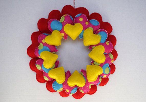 Valentine Wreath Valetine Decor Heart Felt Door by belongtogether