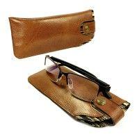 alston craig sunglass case vintage leather brown olive stripe 1 2