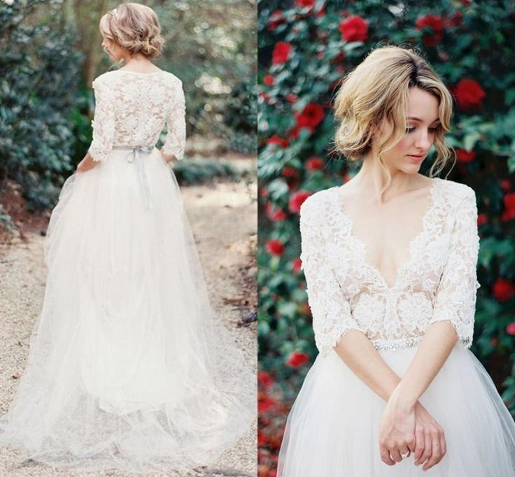 Vintage Lace Bohemia Wedding Dresses V Neck Half Long Sleeve Wedding Gowns A line Sheer Summer Beach Long Bridal Gowns