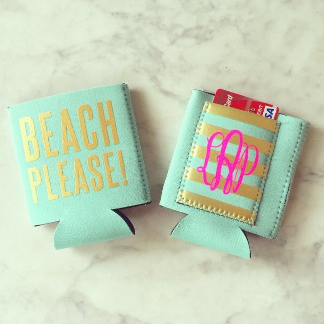 Add everyone's initials to beach koozies, for cute and functional favors.