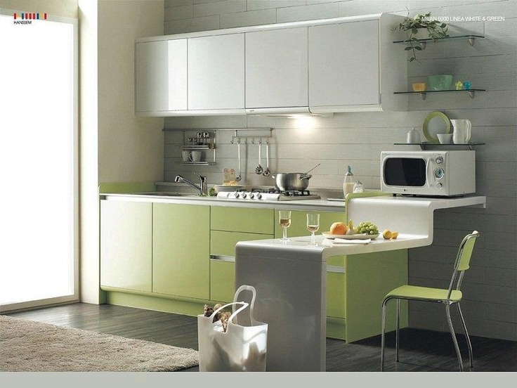 Kitchen, Small Contemporary Kitchen Design Ideas With White Kitchen Cabinet  Design With Cream Fur Rug With Green Kitchen Interior Design Ideas With  Small ...