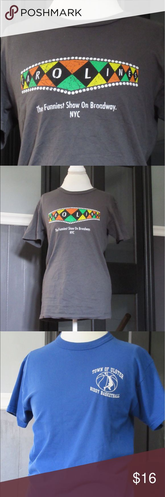 """Lot of casual tees A lot of casual tees in a a variety of styles. There is a graphic tee from Caroline's comedy club in NYC, a fun """"softball jersey"""" from a NY state town, and a classic solid faded orange tee for layering. Tops Tees - Short Sleeve"""