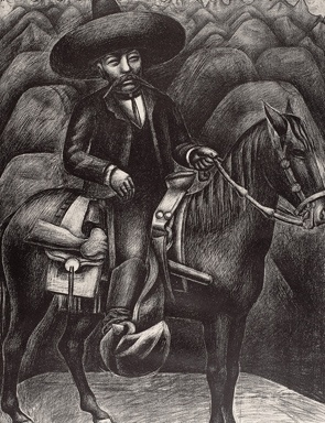 David Alfaro Siqueiros, Mexican (1896-1974). Zapata, ca. 1930. Lithograph, 20 7/8 x 15 5/8 inches (53 x 39.7 cm). The Nelson-Atkins Museum of Art, Kansas City, Missouri. Gift of Richard S. Davis, 53-32. Photo: Joshua Ferdinand.