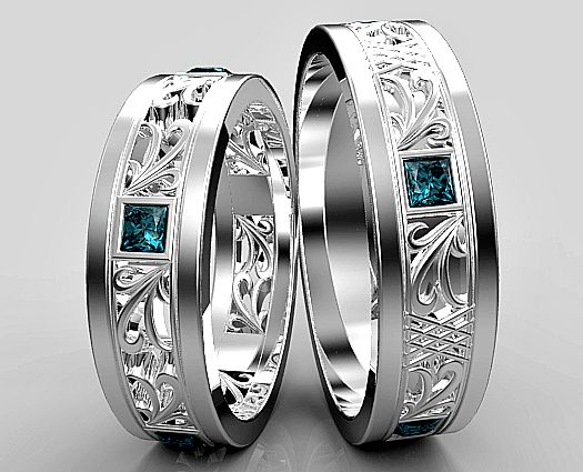 9184aafff4 Princess Cut Blue Diamond Matching Wedding Ring Set | Vidar Jewelry -  Unique Custom Engagement And Wedding Rings