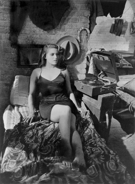 "Robert Capa, Silvana Mangano in ""Bitter Rice"", 1948, Directed by Giuseppe de Santis."