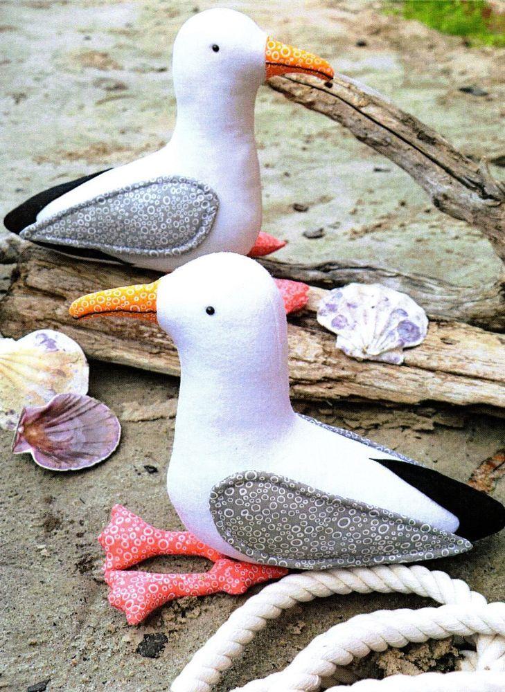 Needle felted Garden birds stick ornament Sea gull