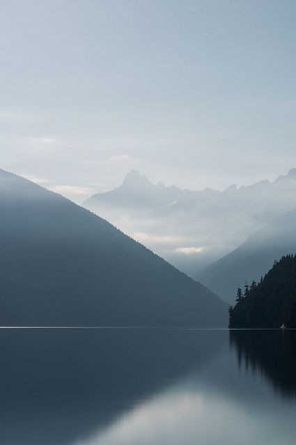 Chilliwack Lake in British Columbia, Canada ~ photographer Zach Copland. Beautifully proportioned shot. . . . . ღTrish W ~ http://www.pinterest.com/trishw/ . . . . #photography #landscape