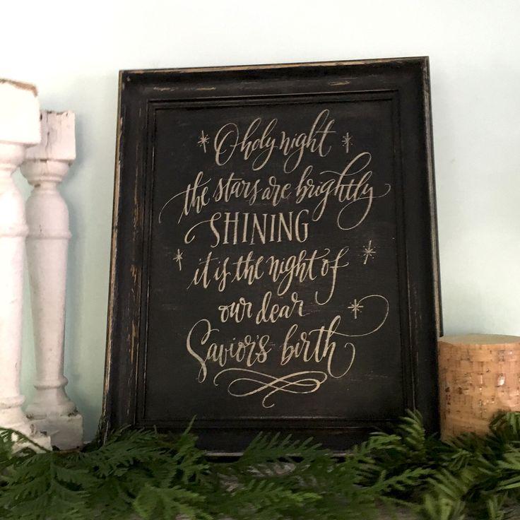 Merry Christmas Sign | O Holy Night Lyrics | Rustic Christmas Decor - Old Barn Rescue