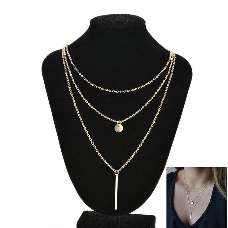 Exquisite Multilayer Golden Chain Coin Chain Statement Pendant Necklace