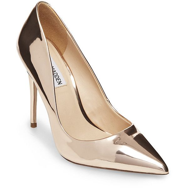 Steve Madden Daisie Pumps ($100) ❤ liked on Polyvore featuring shoes, pumps, rose gold, pointed toe stilettos, leather pumps, pointy toe pumps, steve madden pumps and sexy high heel pumps