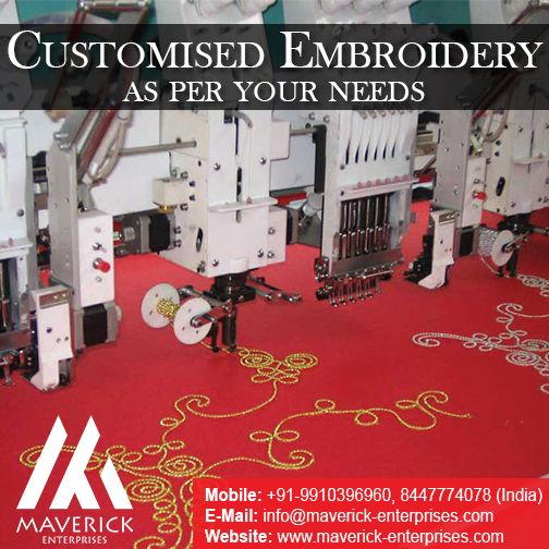 Personalized or customized embroidery works are fast catching up in the corporate and business world. We, at Maverick Enterprises, have understood this trend and have put in lots of efforts and time to perfect this kind of service for you. Today, Maverick Enterprises is proud to announce the best-in-class customized embroidery services for all your needs. Contact us for more details +91-9910396960, 8447774078 (India) +971-564610928, 565431631 (UAE) Email : info@maverick-enterprises.com…