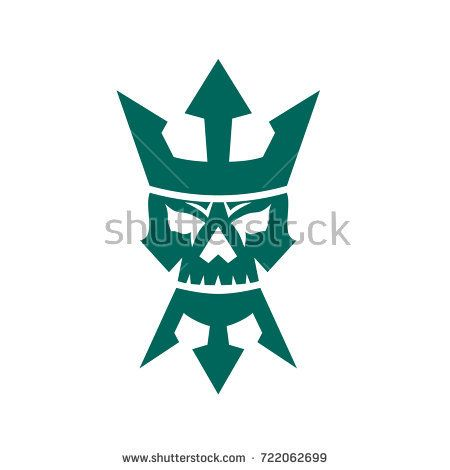 Icon style illustration of a Neptune Skull wearing Trident shape Beard and Crown  on isolated background.  #neptune #icon #illustration