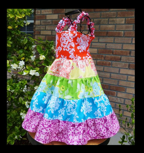 Rainbow dress twirl for Girls birthday party by Amievoltaire, $30.00