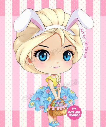 Easter Elsa Chibi by crowndolls