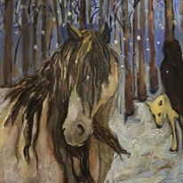 """Meeting by Chance Oil on canvas 12""""x12"""" Lydia Knox 250.00"""