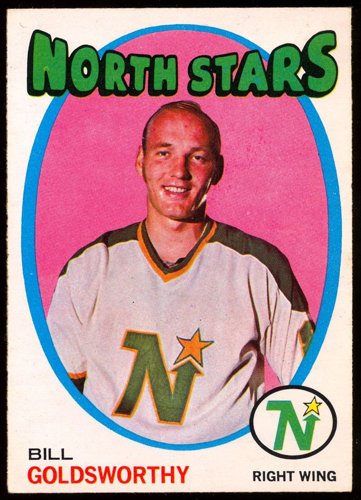 1971 72 Topps 55 BILL GOLDSWORTHY NM MINNESOTA NORTH STARS HOCKEY CARD #Minnesotanorthstars