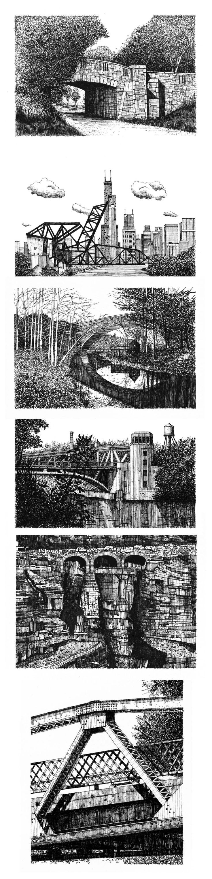 """Six bridges in pen and ink: (Top to bottom) Chicago Stone Bridge, Chicago, IL., 8""""x12"""" 18th Street Bridge, Chicago, IL., 8""""x12"""" Cabin John Bridge, Washington D.C, 8""""x12"""" Canal Street Bridge, Chicago, IL, 8""""x12"""" Triple Arches, Glacier National Park, 8""""x10"""" Bascule Bridge Detail, 8""""x10"""" Prints of each drawing are available in the store at www.andrewbanksillustration.com."""