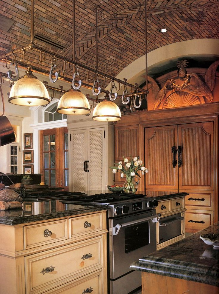 Hawaiian Green Granite Countertop With A Custom Build Up Edge Treatment.  Warm And Inviting Kitchen With A Brick Ceiling And Light Wood Cabinets. Kiu2026