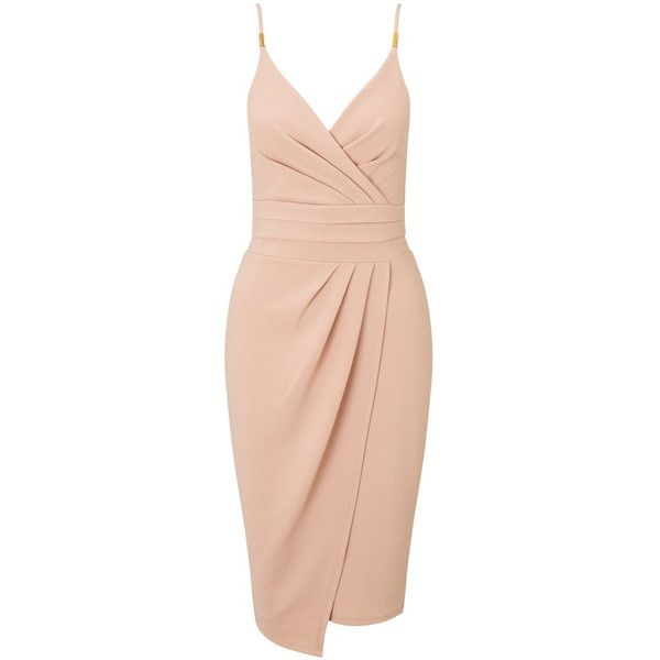 Miss Selfridge Nude Strappy Pencil Dress (£33) ❤ liked on Polyvore featuring dresses, vestidos, assorted, pencil dress, strap dress, miss selfridge, strappy dress and pleated dress