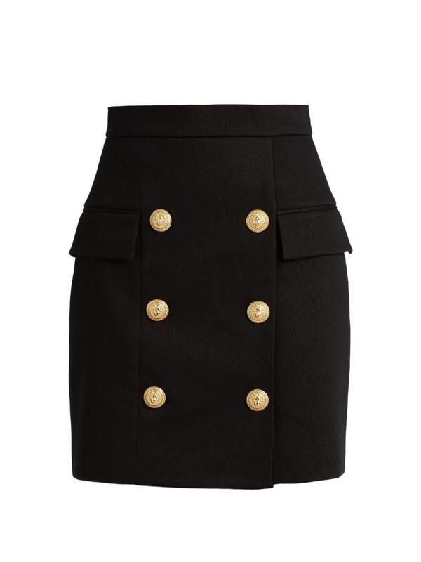 Balmain Black Heavy Cotton Button Front Mini Skirt