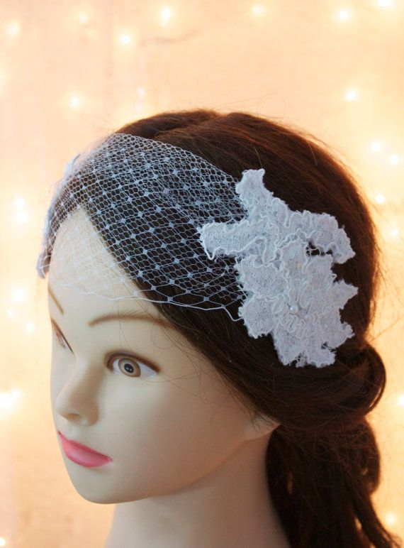 White french veil headpiece with lace flowers and beading- clip on, wedding hairpiece, bridal headpiece, wedding accessory, tulle headpiece