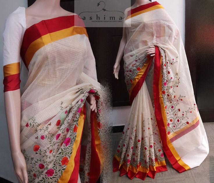 Code:0508178 - Price INR:2100/- , Embroidered Kota saree With Satin Silk Border.