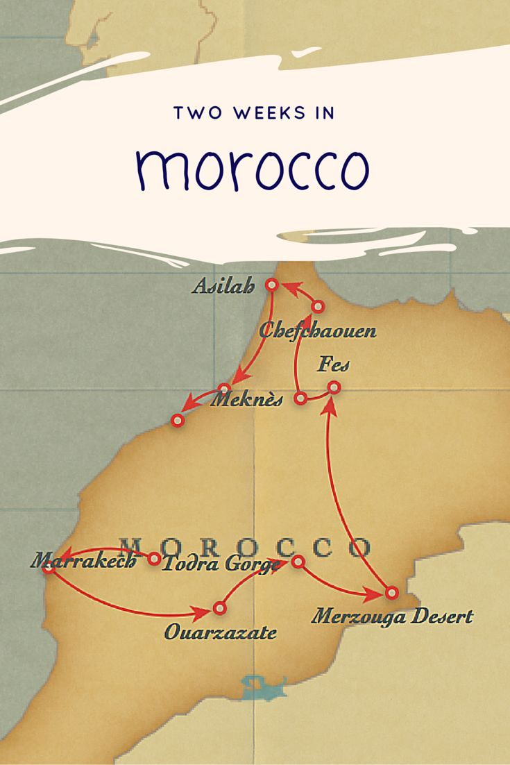 This two week itinerary of Morocco organizes