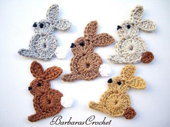 5 pcs crochet bunnys appliques by Barbarascrochet on Etsy, $9.00