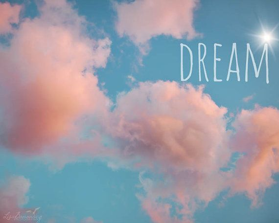 Dream  Pink Clouds Teal Sky Photograph  by LisaBonowiczPhotos, $30.00