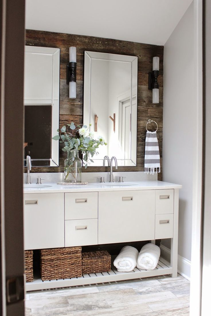 545 best bathroom sinks images on pinterest bathroom sinks design indulgence before and after modern rustic bathroom makeover love the wood wall behind mirrors