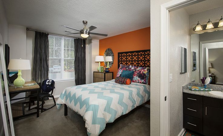 111 South in Statesboro, CA, student housing bedroom and bathroom