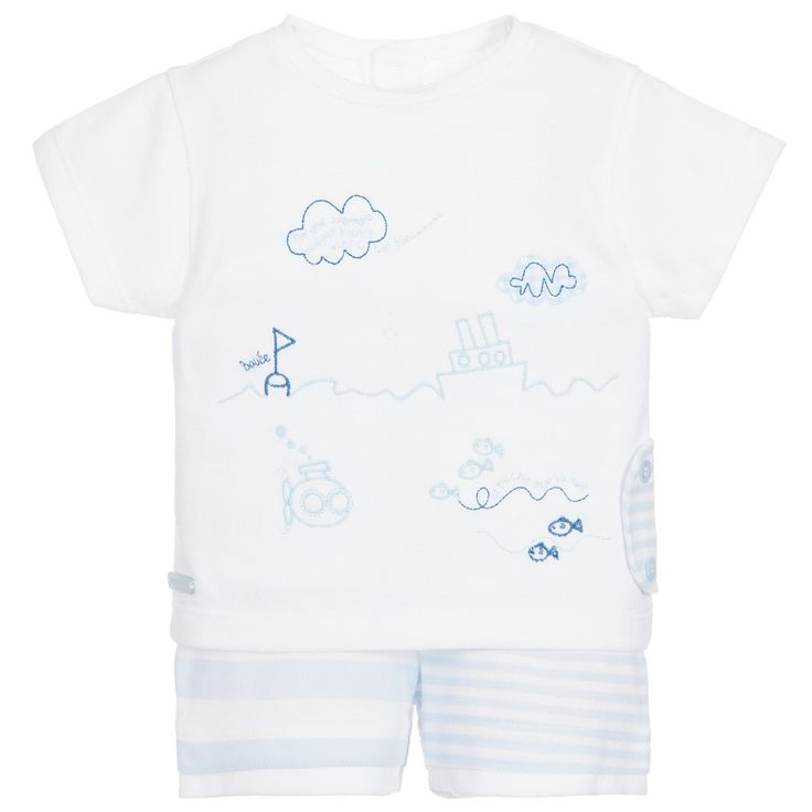 Coco Collection - Baby Boys Blue & White 2 Piece Shorts Set |
