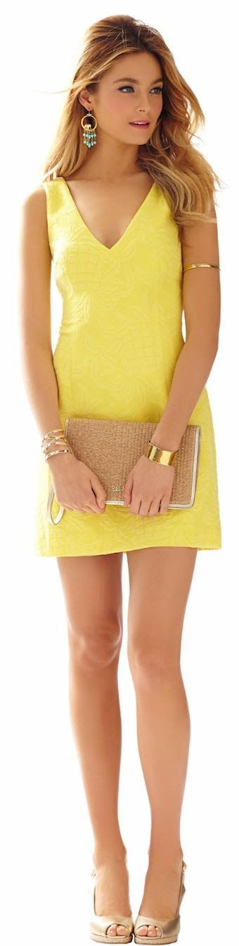 Women's fashion | Summer yellow short dress, blush heels, neutral clutch, golden accessories