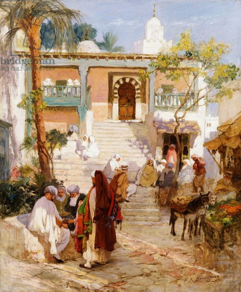 At the Souk,  (oil on canvas)