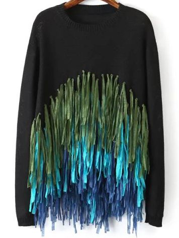 Black Round Neck Tassel Knit Sweater High Quality Guarantee with Low Price!