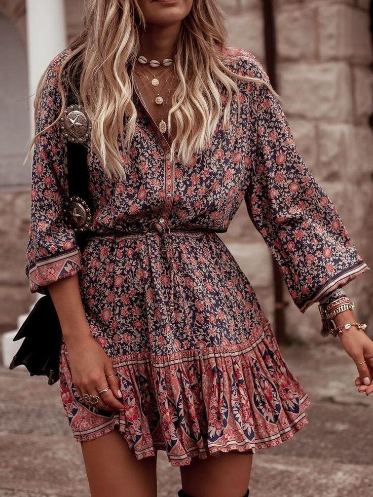 Women's Bohemian Style Floral Printed Midi Dresses