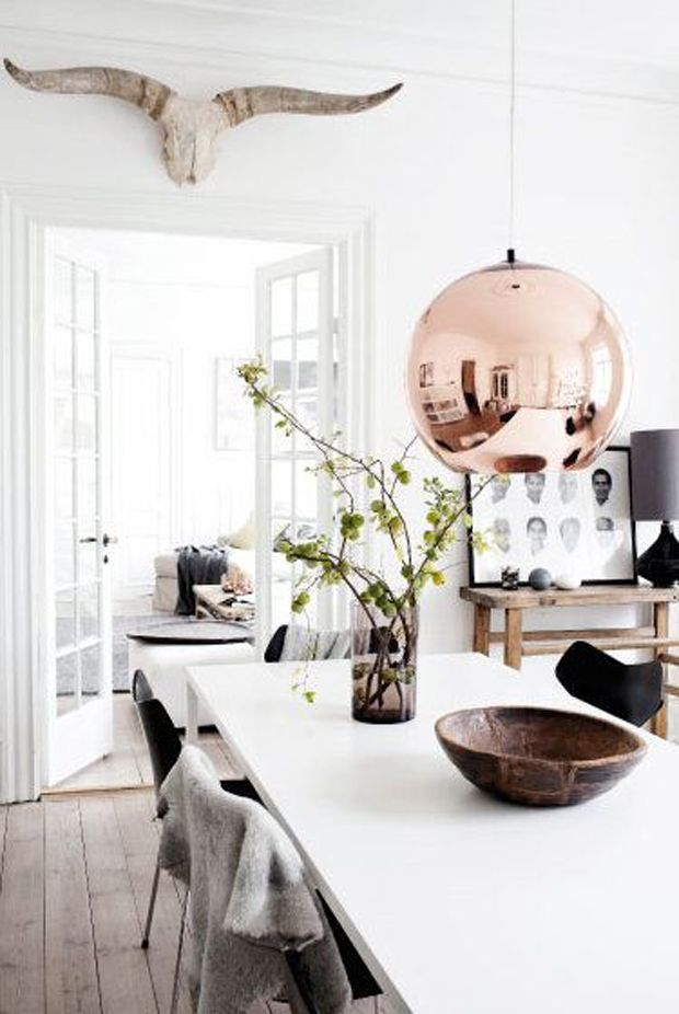 Dining Room Ideas and 15 Reasons Rose Gold is Hot for the Home. Just shy of copper, this pink–like hue has a sophistication and softness that flatters every design scheme.