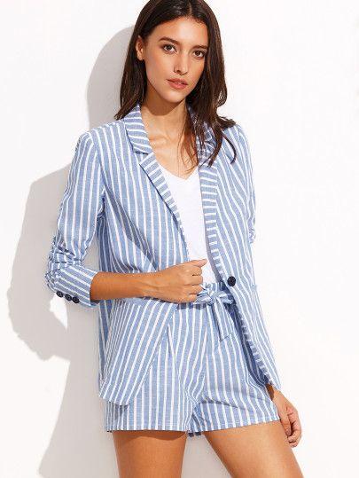 Blue Striped Lapel Blazer with Tie Waist Shorts