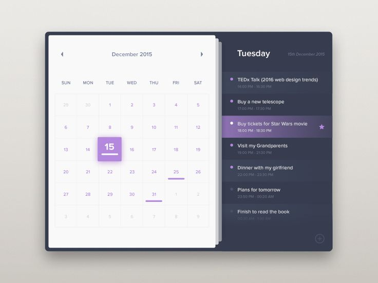 calendar, daily ui design, purple, and dark blue