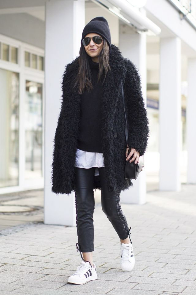 Outfit | Teddy Coat + Leather + Adidas Superstar