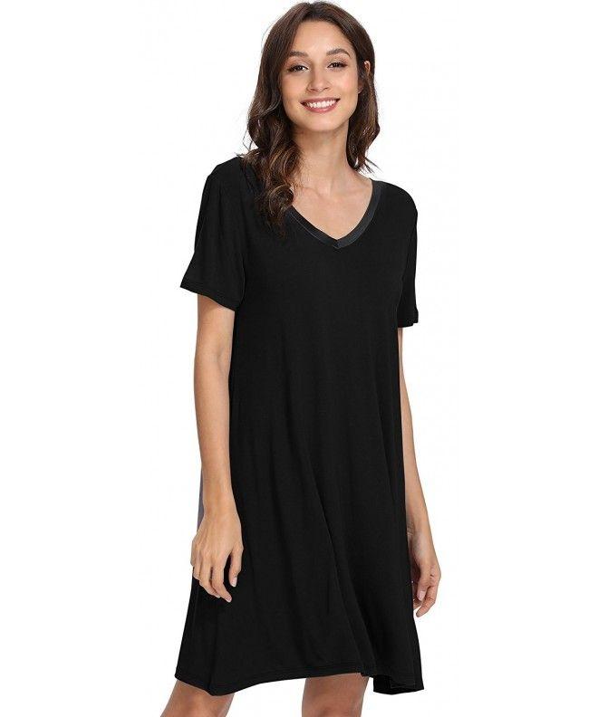 Women s Short Sleeve Nightshirt V Neck Bamboo Nightgown - Black -  C5189TSLEC9 f47b35e63