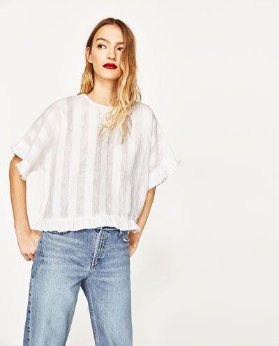 Image 2 of RUFFLED LINEN BLOUSE from Zara
