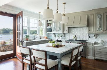 Classic Seaside Shingle Style - beach-style - Kitchen - Providence; marble; grey cabinets